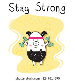 Fitness pig colorful motivation quote 2019  new year resolution strong good healthy fit body healthy active lifestyle exercise drink water