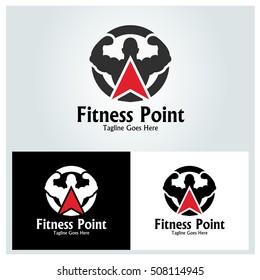 Fitness Point logo design template ,Gym point logo design concept ,Vector illustration