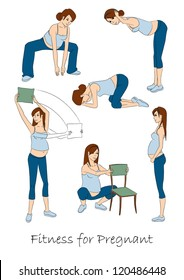 Fitness for pregnant, isolated exercises set