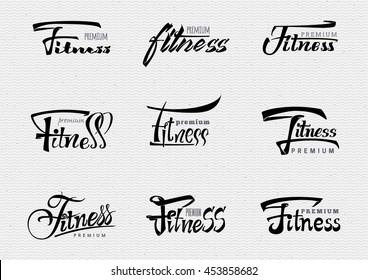 Fitness Premium - badges, lettering, calligraphy is written with the help of tools using typographic rules