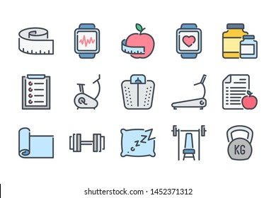 Fitness related color line icon set. Gym exercises colorful linear icons. Sport and training flat color outline vector sign collection.