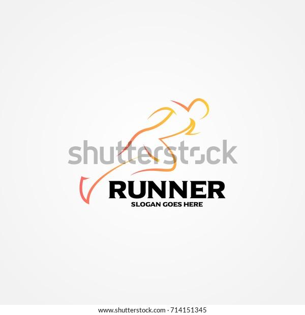 Fitness Runner Club Logo Design Template Stock Vector Royalty Free 714151345