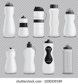 Fitness running blender and sport water bottles various shapes white realistic objects collection transparent background vector illustration