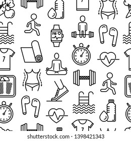 Fitness seamless pattern with thin line icons of running, dumbbell, waist, healthy food, swimming pool, pulse, wireless earphones, sportswear, yoga. Modern vector illustration.