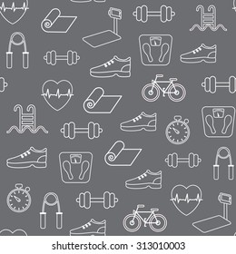 Fitness seamless pattern. Vector background