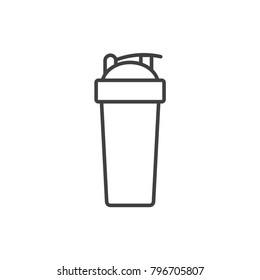 Fitness shaker cup line icon.