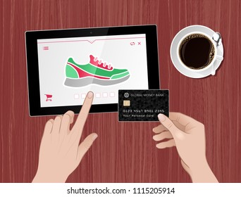 Fitness Shoes Online Shopping. Vector illustration on the subject of 'Internet Trading / E-Commerce'.