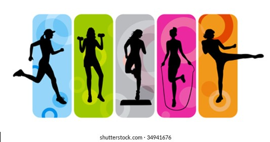 Fitness silhouettes on abstract background