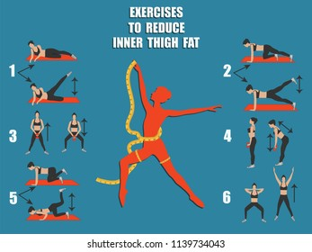 Fitness Slimming Exercises - Female Silhouette with Measuring Tape - art vector. Sports poster