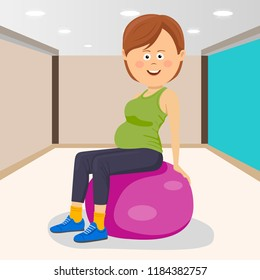 Fitness smiling woman sitting on pink fitness ball in a gym
