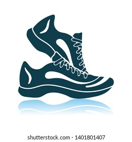 Fitness Sneakers Icon. Shadow Reflection Design. Vector Illustration.