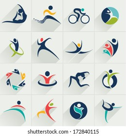 Fitness social relationship sport people and communication web Icons set and vector logos