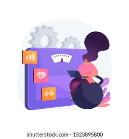 Fitness software. Slimming organizer, sport training planner, weight loss program. Woman using laptop for workout progress and wellness tracking. Vector isolated concept metaphor illustration