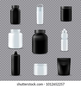 Fitness sport drink supplements nutrition eco bottles  realistic white black set transparent background isolated vector illustration