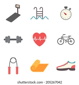 Fitness, sport equipment and caring figure icons set. Healthcare and weight loss flat design vector illustration.
