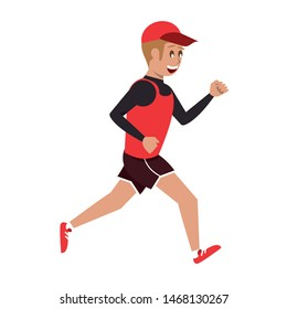 fitness sport excercise lifestyle man running isolated cartoon vector illustration graphic design