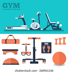 fitness sport gym exercise equipment workout flat set concept and banner.  Vector illustration for colorful template for your design, web and mobile applications.