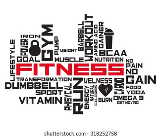 Fitness, sport, gym, lifestyle health concept.  Word and Icon Cloud. T-shirt design. Typography. Creative poster design. Motivation.