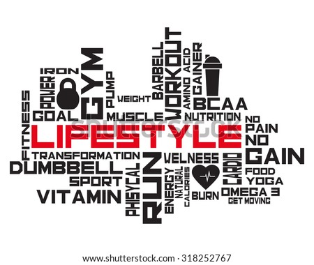 9f22e4311 Fitness, sport, gym, lifestyle health concept. Word and Icon Cloud.  Motivation. T-shirt design. Typography. Creative poster design. - Vector
