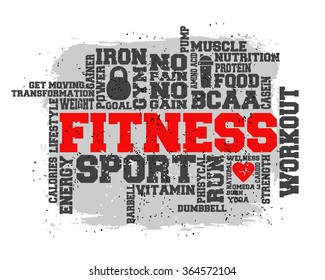 Fitness, sport, gym, run, lifestyle health concept.  Word and Icon Cloud.  T-shirt design. Typography. Creative poster design. Motivation.