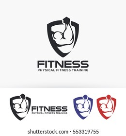 Fitness, sport, health, weight, muscle. Vector logo template