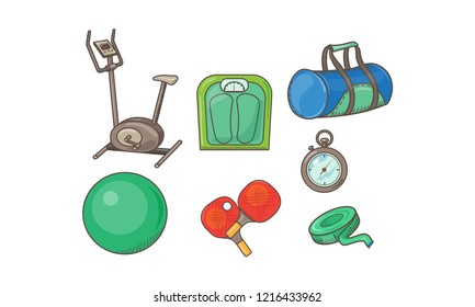 Fitness sport icons set, exercise bike, scales, bag, measuring tape, fitball, table tennis rackets, stopwatch vector Illustration on a white background