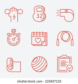 Fitness and sport icons, thin line style, modern flat design