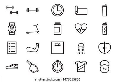 fitness and sport isolated icons set on white background