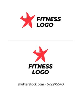 Fitness sport star logo flat vector