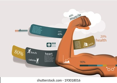 Fitness and sport statistics, health infographics with muscle arm