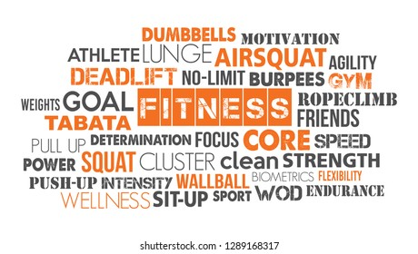 Fitness sport word cloud concept text is outline