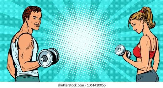 fitness sports background, man and woman with dumbbells. Pop art retro vector illustration kitsch drawing