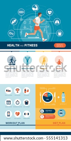 fitness sports healthy diet exercise infographics stock vector