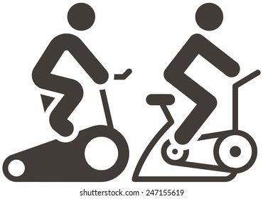 Fitness sports icons set - indoor cycling icons