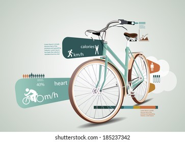 Fitness and sports statistics infographics with bicycle