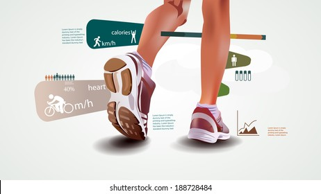 Fitness and sports statistics, infographics with sport shoes, run statistic