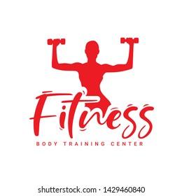 Fitness Symbol, GYM LOGO, vector icon, calligraphic female silhouette
