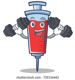 Fitness syringe character cartoon style