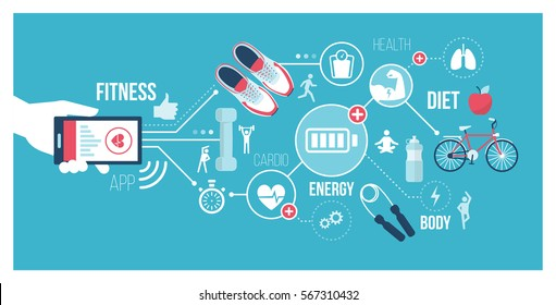 Fitness and technology concept: user connecting with a smartphone and using sports and healthcare apps