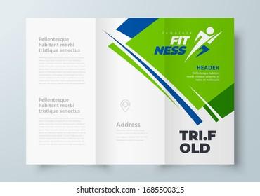 Fitness theme Tri-fold green color, cover design template