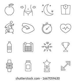 Fitness thick line icons, healthy lifestyle, training, workout, biceps icon isolated over white, vector illustration. Premium symbols.