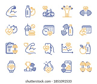 Fitness time line icons. Bike Workout, Strong Muscle Arm, Gym fit dumbbell. Training analysis, Workout plan and Cardio exercise line icons. Dumbbell sport equipment, Healthy food, Muscle. Vector
