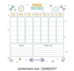 Fitness timetable. Weekly schedule template. Vector illustration. Flat design.