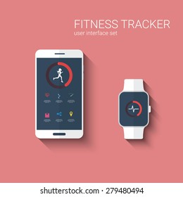 Fitness tracker app graphic user interface for smartwatch and smartphone. Woman running symbol with icons for the application. Eps10 vector illustration.