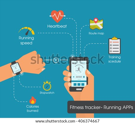 fitness tracker app graphic user interface stock vector royalty