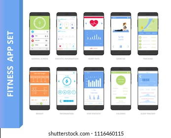 Fitness tracker app interface set. Mobile phones with sport application screen. Sport and diet concept. Sleep, weight, calories, exercise tracking. Flat vector illustration.