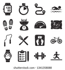 Fitness Tracker Icons. Black Scribble Design. Vector Illustration.