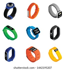 Fitness tracker icons set. Isometric set of fitness tracker vector icons for web design isolated on white background