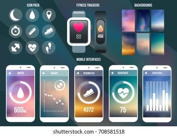 Fitness tracker interface ui icon, background, sport pedometer, smart watch vector template.