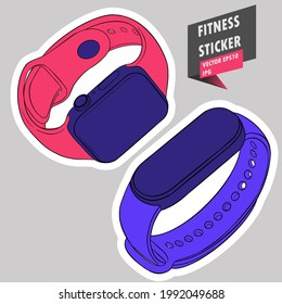 Fitness tracker. Sport and physical activity gadget. Calorie Counter Watches. Pedometer. Active lifestyle. Hand drawn colorful illustration. Sticker for printing. High resolution. Vector EPS10 and IPG